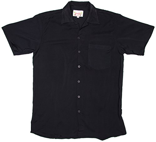 Ragstock Men's Short Sleeve Retro Bowling Shirt, Black-X-Large (Classic Bowling Shirt)