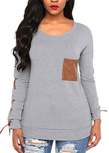 Heat Move Women Casual Long Sleeve Scoop Neck Fashion T-Shirts Knits Tops (S, Light Grey)