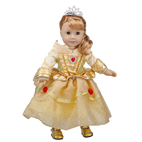 Belle-Inspired Outfit for American Girl Dolls (Includes Ball Gown with jeweled accents, Gold Shoes and Tiara)