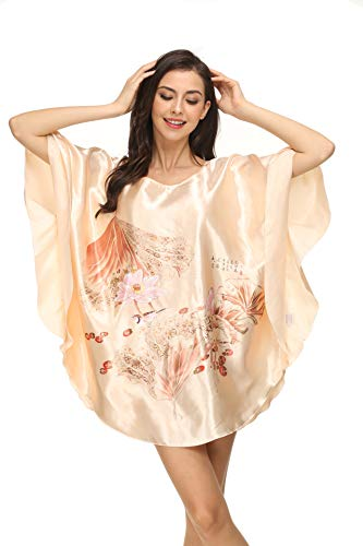 Kiddom Women's Plus Size Satin Pajama Sexy Nighgowns Ladies Sleepshirt Girl's Sleepwear Batwing Sleeve