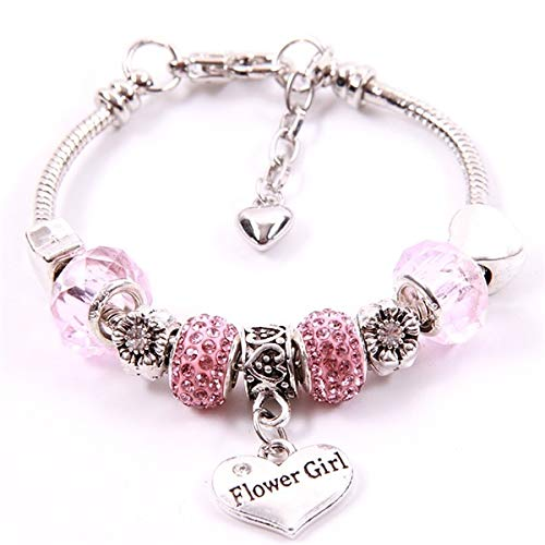 Sweetie Flower Girl Chain Bracelet | Princess Girls Pink Crystal Beads Bracelets | Silver Plated Star Charm for Bracelet Children (as Photo)