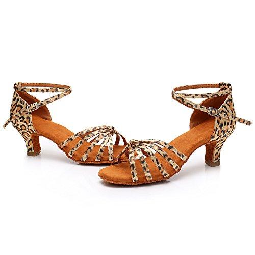 5cm de SWDZM Tacón Latin Baile LP217 Mujer Estándar Leopardo Ballroom modelo Zapatos qqSvE