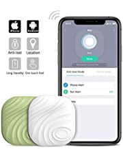Nut3 Key Finder Smart Tracker Bluetooth Tracker Locator Wallet Phone Key Anti-Lost Bidirectional Alarm Reminder Tracking Device Replaceable Battery (2 Pack, White+Green)