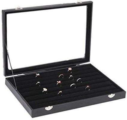 Metal Buckle Holder Large Glass Top Holds 70 Cufflinks Black Luxury Display Jewelry Case -Carbon Fiber Design Glenor Co Cufflink Box for Men