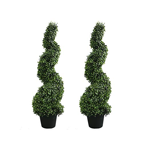 Armada Topiary Trees Artificial Faux Fakes Spiral Plant Green Cedar Tree Boxwood Topirary Plants Indoor Outdoor Decor with Plastic Pot Set of 2 (35 -