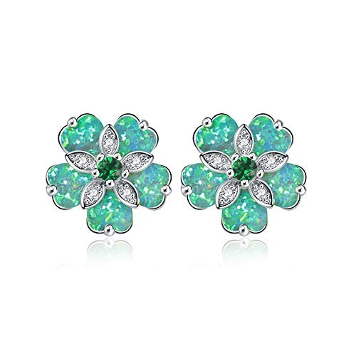 CiNily Flower Opal Stud Earring,Green Opal Emerald Zircon Rhodium Plated Women Hypoallergenic Jewelry Gemstone Stud Earrings 15mm