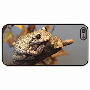 iPhone 5 5S Black Hardshell Case frog reptile branch autumn Desin Images Protector Back Cover