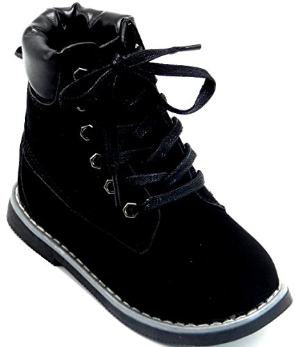 New Cute Girls Kids Round Toe Combat Military Lace up Ankle Mid Calf Boots Shoes Black-8