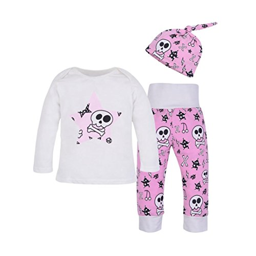 Winsummer Newborn Baby Boy Girl Halloween Skull Cotton T-Shirt+Long Pants+Hat Outfit Clothes Set (0-6M, Hot Pink)