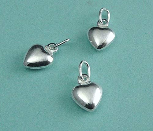 Explore Wonderful Collection Crafted Charms 6 Pcs/3 Pairs Sterling Silver Puffed Heart Charms Drops Dangles 6.5x9mm