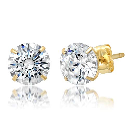 14k Solid Yellow Gold ROUND Stud Earrings with Genuine Swarovski Zirconia | 2.0 CT.TW. | With Gift Box