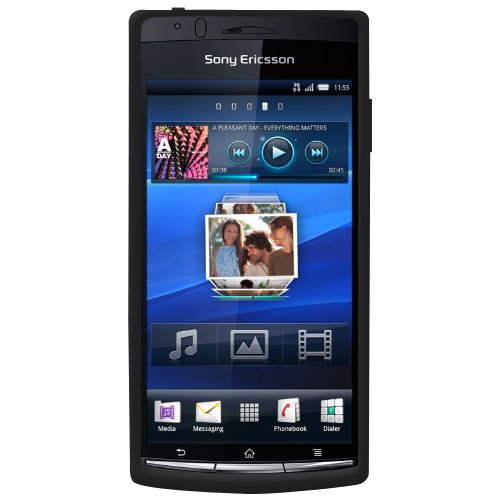 Amzer Silicone Skin Jelly Case for Sony Ericsson Xperia arc - 1 Pack - Black (Phone Case Sony Ericsson)
