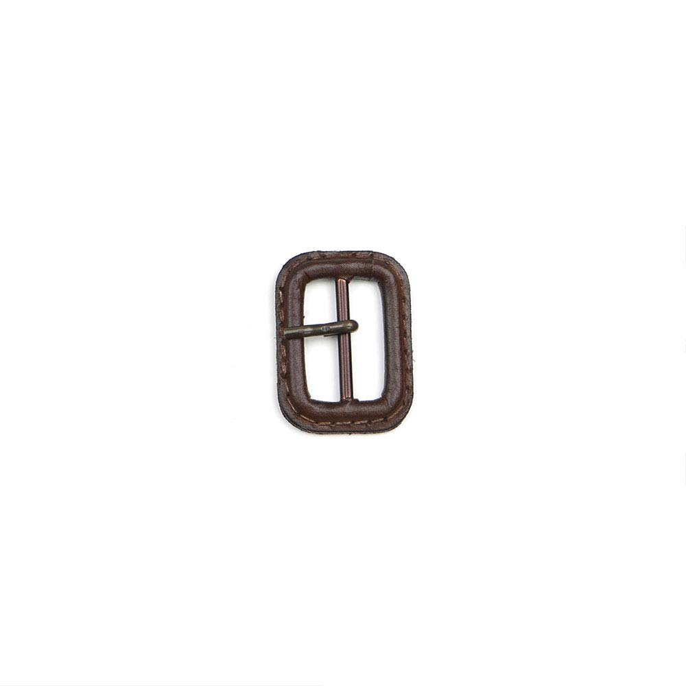 Dark Brown 1'' Leather Buckle with Antique Brass Pin, Made in Italy