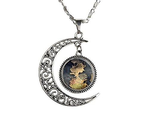 Crescent Moon Globe art pendant, globe pendant, globe pendant, atlas necklace, map jewelry, vintage globe necklace from OTAMA