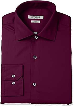 "Perry Ellis Men's Slim Fit Wrinkle Free Solid Twill Dress Shirt With Adjustable Collar, Ruby, 15"" Neck 32""-33"" Sleeve"