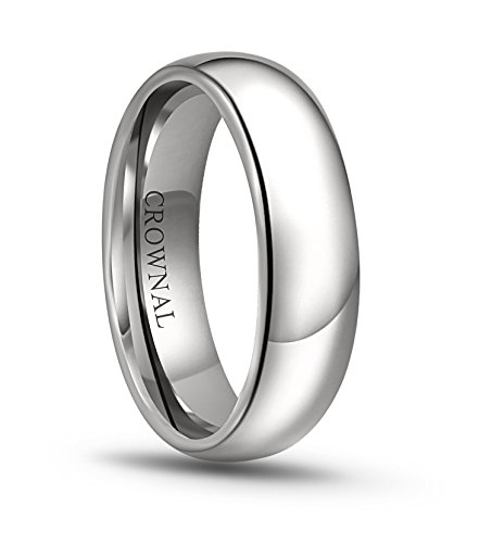 CROWNAL 6mm/5mm/4mm/3mm/2mm White Tungsten Carbide Polished Classic Dome Wedding Ring (6mm, 7.5)