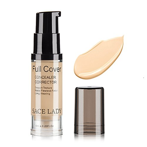 SACE LADY Full Cover Liquid Concealer Corrector, Smooth Waterproof Liquid Creamy Concealer for Eye Dark Circles Face Concealer Makeup, Size:6ml/0.20Fl Oz, Warm Ivory