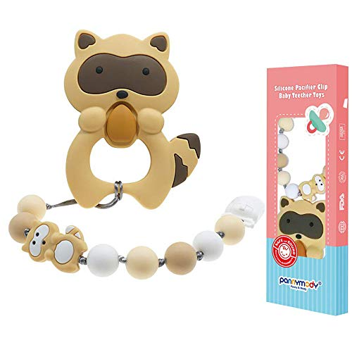 Beige Panny /& Mody Baby Teething Toys Cute Raccoon Textured Silicone Teether for Newborns Infants Toddlers Boys and Girls