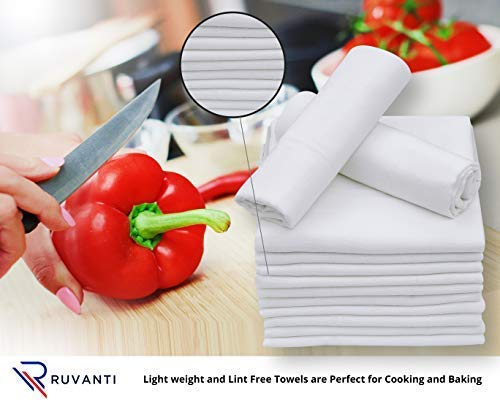 Ruvanti 12 Pack Extra Large Flour Sack Dish Towels (30'' X 30'') Highly Absorbent Kitchen Towels/Tea Towels - 100% Cotton Multi-Purpose Towels for Embroidery. Cleaning Cloth/Dish Towels/Bar Towels.