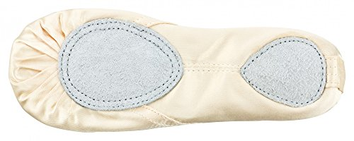 leather ballet slippers Satin sole champagne Champagne split RFqddxwt4p