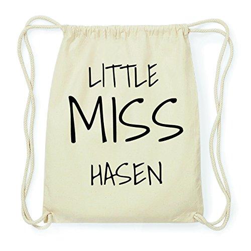 JOllify HASEN Hipster Turnbeutel Tasche Rucksack aus Baumwolle - Farbe: natur Design: Little Miss