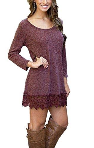 Lose Wine Trim Hemline Women's Red Lace Tunic Long Simple T Dress shirt Aro Lora Sleeve RwxOZ8Zq
