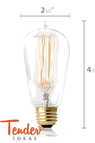 Single Unit - Vintage Edison Light Bulb with Squirrel Cage Tungsten Antique Filament (15AK) For Romantic, Retro Style Lighting; 60 Watt, 120 Volt, 210 Lumen model ST58, with E26 thread for U.S./Canada 210 Single