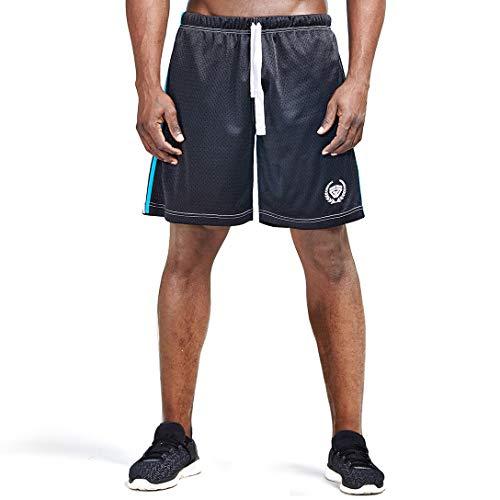 (AIMPACT Running Shorts for Men Mesh Athletic Striped Basketball Shorts with Drawstring(Black M))