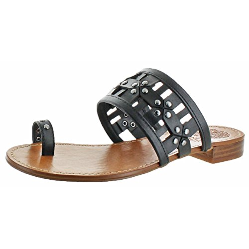 Vince Camuto Helice Womens Black Leather Toe Loop Flat Slide Sandals Size 8