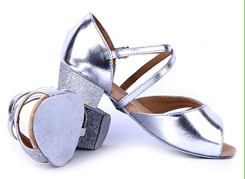 Girls Soft-soled Glittering Latin Ballroom Dance Shoes with Leather Strap(13.5, Silver) by staychicfashion (Image #2)