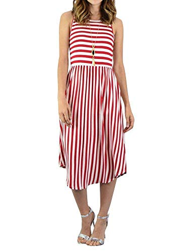 Summer Sleeveless Dress Bolomi Casual Midi Red with Dress Striped Pockets Tank Womens w0CFqOxB