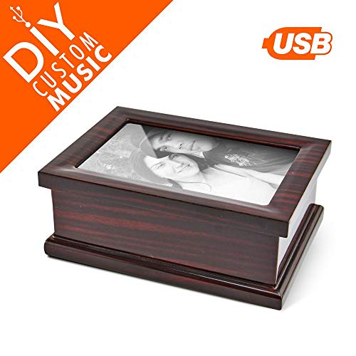(4X6 Photo Frame with Music Box, Custom USB Music Box to Upload Your Own Songs Selection - Rechargeable Solid Wood Picture Frame with Compartment, 15 MP3 Songs USB Sound Module with 95 MB Space)