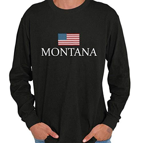 (Montana USA T Shirt American Flag Shirt Novelty Gift Ideas Long Sleeve Tee Black)