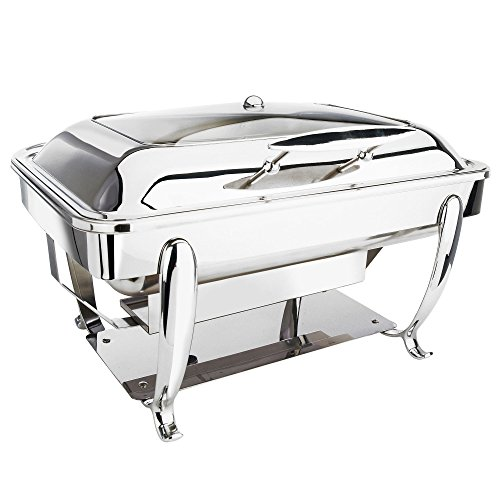 Eastern Tabletop 3915GS 8 Qt. Stainless Steel Rectangular Induction Chafer with Stand and Hinged Glass Dome Cover