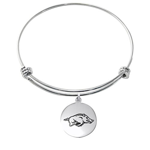 College Jewelry Arkansas Razorbacks Stainless Steel Adjustable Bangle Bracelet with 17mm Round Charm