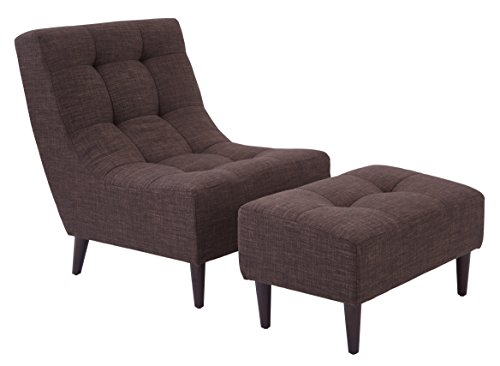 - Office Star Upholstered Hudson Chair and Ottoman Set with Espresso Finish Legs, Taupe