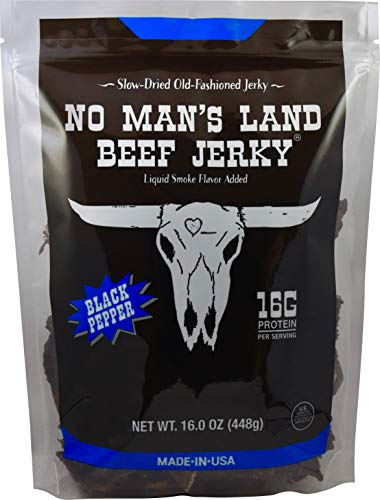 No Man's Land BLACK PEPPER Beef Jerky High Protein Low Calorie Low Carb Beef Snack 16oz Bag