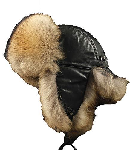(Men Fox Fur Skin hat Men's Fur Trapper Cap Genuine Sheepskin Leather Hunting Earcuff Hats)