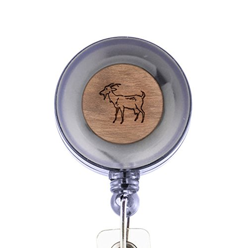 Goat Badge Holder with Retractable Reel and Clip, Laser Engraved Wood Design, Custom Badge Holder, Corporate Gifts