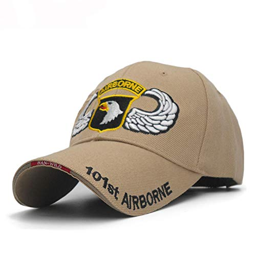 Zoe-clothes-store 101st Airborne Division Mens Baseball Caps US Army Cap Snapback Hats AIR Force Sport Tactical Cap,Champagne,M
