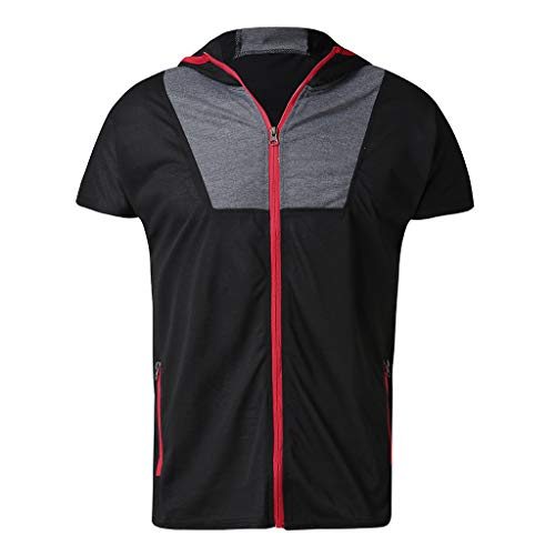 28e2862f Xlala Sleeveless for Men's Casual Patchwork Zipper with Pocket Vest Hooded  Jacket T Shirt Standing Collar