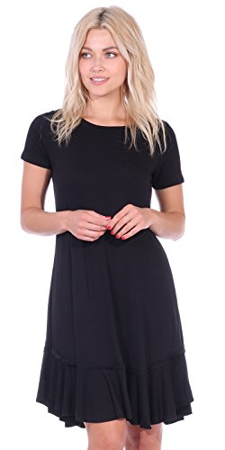 Popana Women's Casual Short Sleeve Knee Length Summer Midi Dress Made in USA