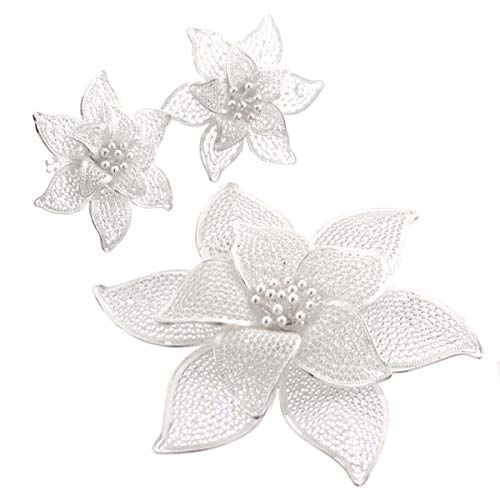 2 1/2'' Handmade Filigree Flower 925 Sterling Silver brooche & Earring Set YE-493
