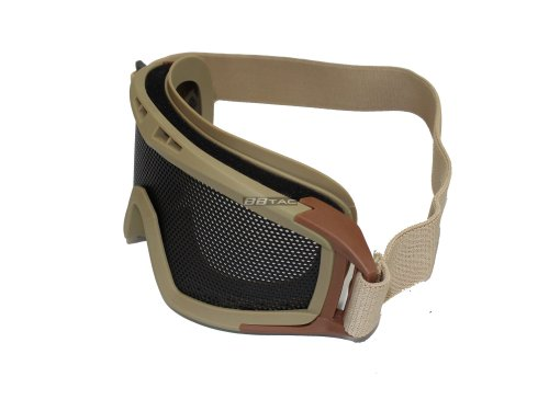 BBTac Airsoft Protection Goggles with Metal Wired Mesh, Tan
