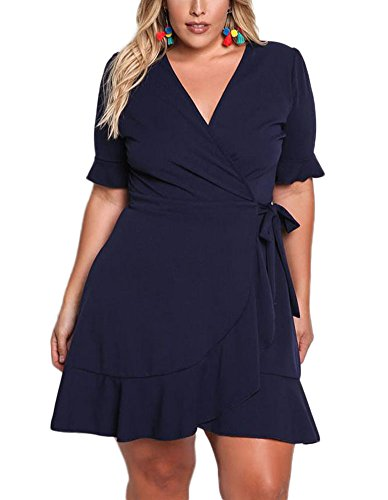 da6491a6d86c Lalagen Women s Plus Size Short Sleeve Wrap V Neck Cocktail Knee Length  Dress
