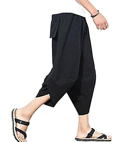 Sikimennzi 팬츠 맨즈 사루엘(Sarrouel) 하프 스웨트 면마 고무줄 주머니 넣기 패션 캐주얼 바지 통근 통학 여행 파디 개성 힙합계 바지 바지 남녀 겸용