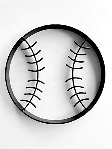 (Baseball Modern Glossy Black Rustic Metal Wall Art Hanging - Boy's Sports Fan Themed Bedroom Nursery - Playroom Decor)