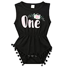 ONE'S New Baby Girls Summer Floral First Birthday Bodysuit Romper Outfits