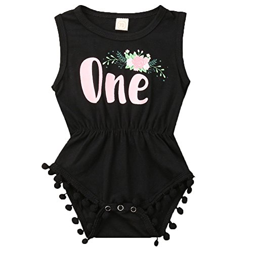 ONE'S New Baby Girls Summer Floral First Birthday Bodysuit Romper Outfits (12-18 Months, Black)