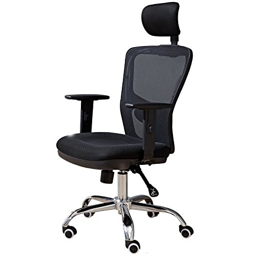 41hWdnP466L - High Back Mesh Office Chair with Adjustable Headrest and Lumbar Support